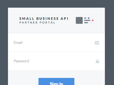 SmallBusinessAPI Login form fields authentication signin login