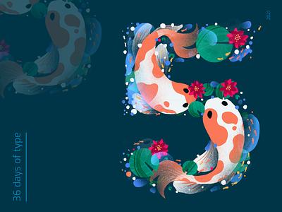36 DOT 5 leaves type 5 pond koifish procreate 36daysoftype illustration graphic design