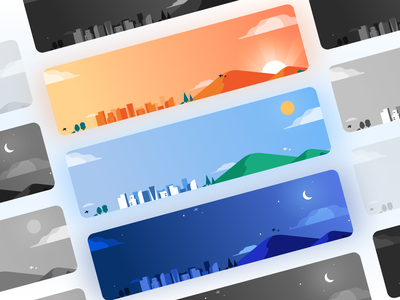 Day and Night cityscape night morning ui cards day and night illustration
