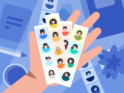 Default avatars | explorations photograph photobooth branding faces learner default picture user avatars design character illustrator illustration