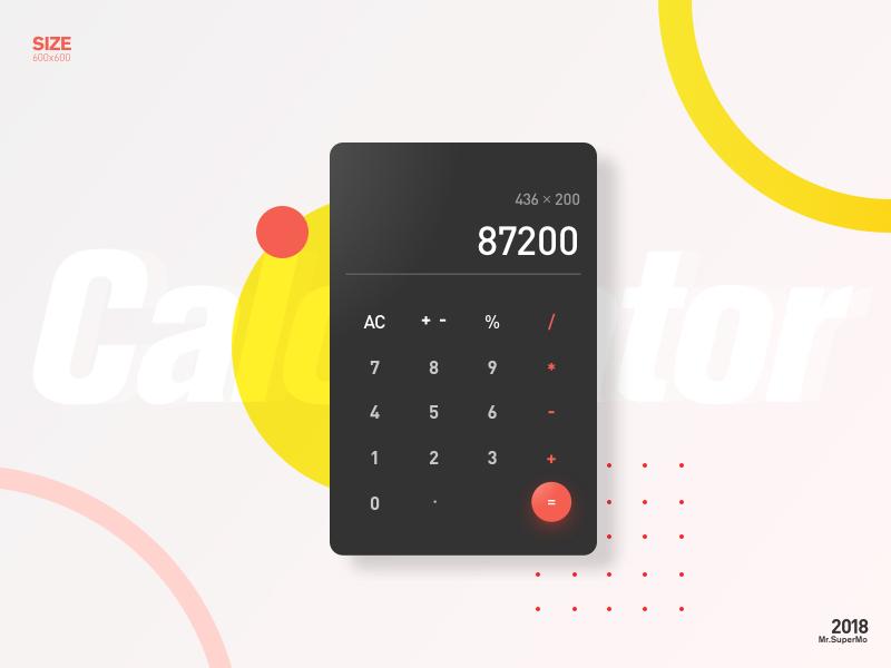 Calculator ui,color red yellow calculator poster design