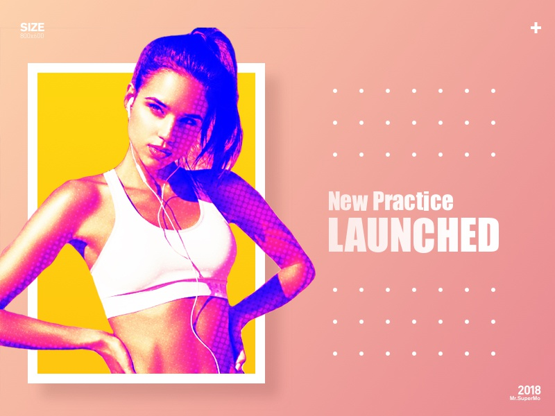 New Practice Launched layout poster design ui