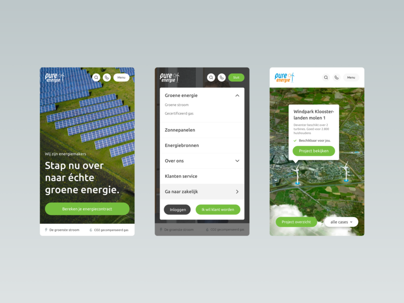 Pure Energie - Mobile webdesign web user experience design interactive user interface digital mobile