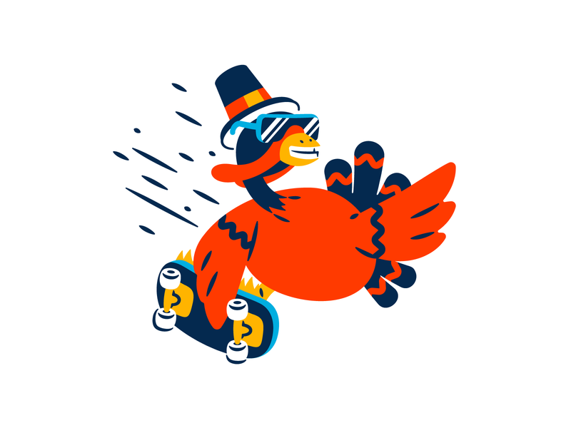 Cool turkey thierry fousse feather sunglasses cool grab trick skate pilgrim thanksgiving turkey character illustration