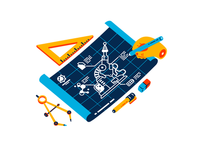 Science blueprint thierry fousse isometric icon eraser compass square pen schematic hand design death ray blueprint science illustration