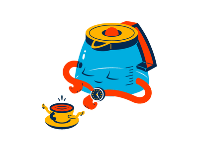 Come back later thierry fousse time transparency later cup watch coffee pot coffee cup coffee character illustration
