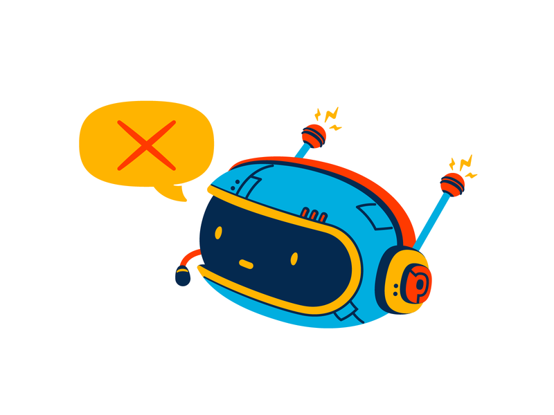 No comment thierry fousse speechbubble head headset microphone headphones no comment chatbot bot robot character illustration