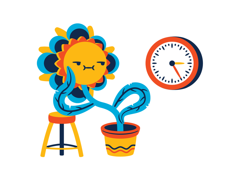 Waiting thierry fousse character jaded leaves flower pot bored stool watch clock plant flower waiting wait