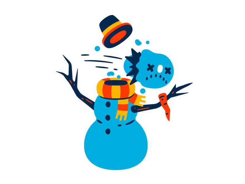 Snowman fatal error thierry fousse holidays christmas fatal error error dead scarf hat character branches carrot hit snowball snow snowman