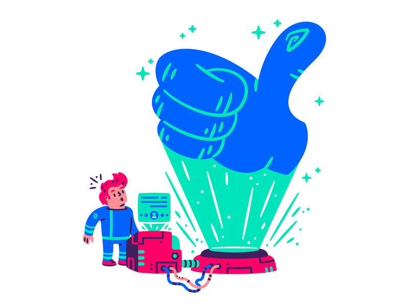 The adventures of Captain Fry #4 thumbs up wires message program thumb like future futuristic space holograph hologram hand character illustration thierry fousse