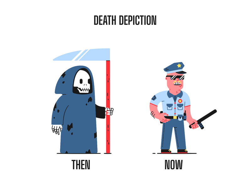 Death depiction police brutality racism icantbreathe george floyd police death thierry fousse character illustration