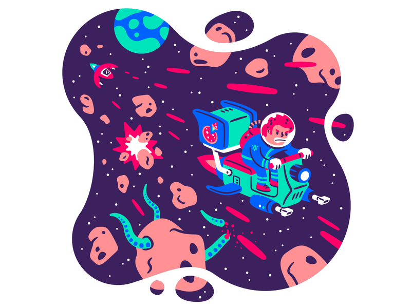 The adventures of Captain Fry #5 chase fly blaster tentacles planet asteroid fight laser spaceship bike delivery pizza futuristic space character illustration thierry fousse