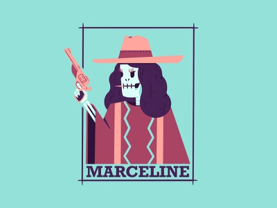 Marceline procreate skull wanted frame portrait toothpick revolver poncho cowboy hat skeleton gun pistol cowboy cowgirl character illustration thierry fousse