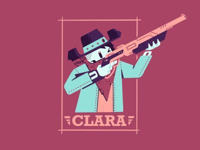 Clara scarf poster wanted frame gun aim lever action rifle rifle cowgirl cowboy cowboy hat hat skull skeleton character illustration thierry fousse