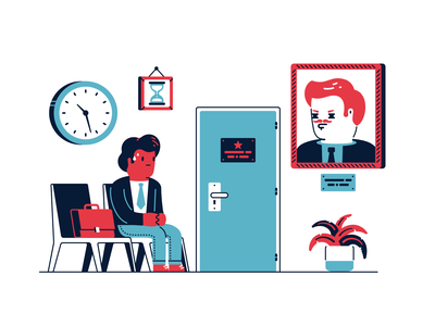 Waiting applicant clock chair satchel workplace plant hourglass sweat portrait frame wait waiting room work boss office interview waiting character thierry fousse illustration