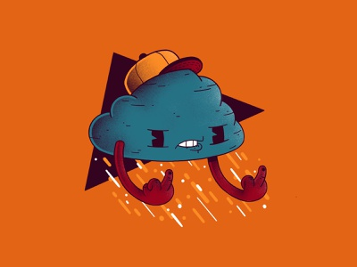 Fall cloud angry weather texture procreate fuck you fuck cap rain cloud autumn fall character illustration thierry fousse