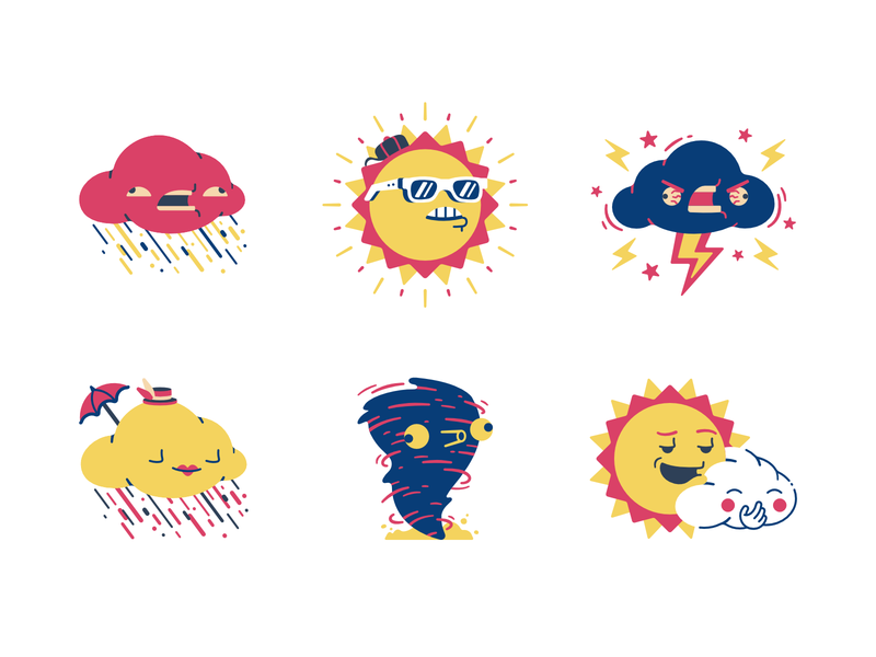 Weather stickers set #1 rain set icons stickers lightning tornado twister cloud sun forecast weather forecast weather character thierry fousse illustration