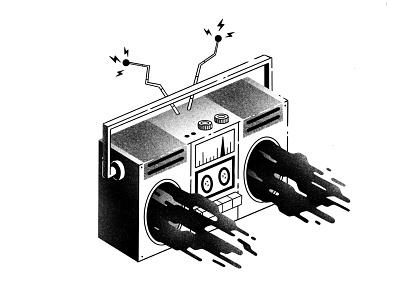 Inktober #4 -  Radio noise grain texture ink broadcast antenna isometric magic mystic song music radio procreate inktober52 inktober inktober2020 thierry fousse illustration