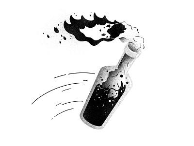 Inktober #9 -  Throw riot bottle fire throwable throw molotov cocktail molotov ink inktober52 inktober2020 inktober texture illustration thierry fousse