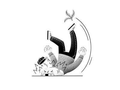 Inktober #12 -  Slippery faceplant grain classic cartoon hurt texture black and white ink inktober52 inktober2020 inktober banana banana peel slip slippery character illustration thierry fousse