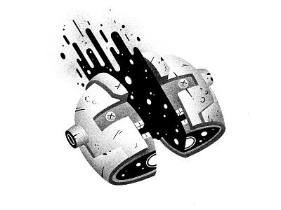 Inktober #14 -  Armor half spatter dead inktober52 inktober2020 inktober ink blood slice cut helmet armor illustration thierry fousse