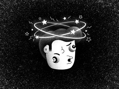 Inktober #19 -  Dizzy knockout face dazed stunned stars spin head stun dizzy black and white inktober52 ink inktober inktober2020 character illustration thierry fousse
