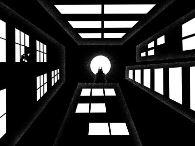 Inktober #26 -  Hide moon watching windows shadows lights skyscrapers buildings dark night hide batman procreate art procreate inktober inktober2020 character illustration thierry fousse