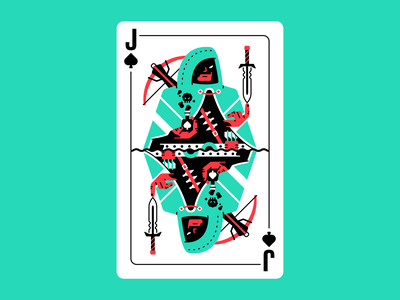 Jack of shadows cloak shadows dagger hood rpg poison knife crossbow affinity designer vector card design deck card jack of spades jack spades assassin character illustration thierry fousse