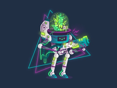 Cyberplant wires weapon lighting bolt breath oxygen gun neon light light neon futuristic robot texture armor plant cyber character thierry fousse illustration