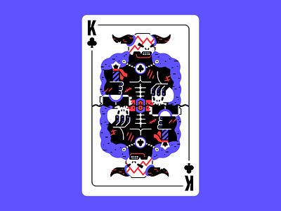 King of chaos figures wrath chaos barbarian sword horns skull deck of cards card design card king kingofclubs clubs club warrior berserk berserker character thierry fousse illustration
