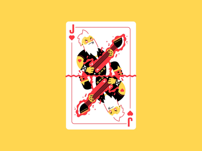 Jack of life (animated) energy hearts jack of hearts axe fantasy rpg music riff motion design animation card design card rock and roll guitar heavy metal punk rock dwarf character illustration thierry fousse