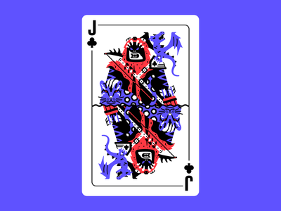 Jack of chaos orc fur animals pelt rpg arrows bow dragon leopard panther beasts beastmaster deck of cards card design clubs jack of clubs card character thierry fousse illustration
