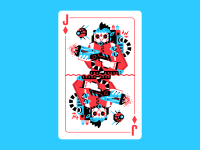 Jack of order gas mask rpg drone grenades backpack mask energy gun weapon gun engineer deck of cards card design card diamonds jack of diamonds jack character thierry fousse illustration