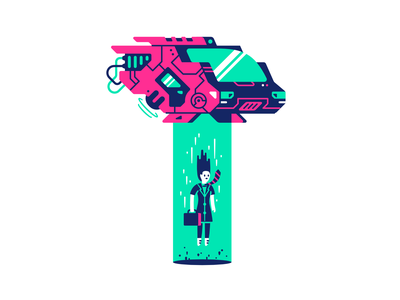 Upload wires hover fly tie science fiction sci-fi neon laser businesswoman woman futuristic shuttle spaceship tractorbeam beam upload character thierry fousse illustration