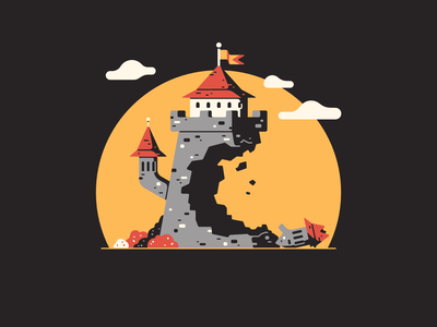 C stands for... type letter bush cloud wall bricks 36 days of type affinity designer vector flag ruins destroyed tower keep medieval castle thierry fousse illustration