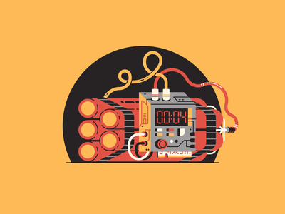 D stands for... letter buttons d 36 days of type electronic device contraption boom time bomb timer wires tnt bomb dynamite thierry fousse illustration