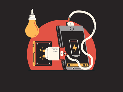 E stands for... zap lightning 36daysoftype08 letter 36 days of type gauge charge battery phone smartphone socket lightbulb charger wire electric electricity thierry fousse illustration