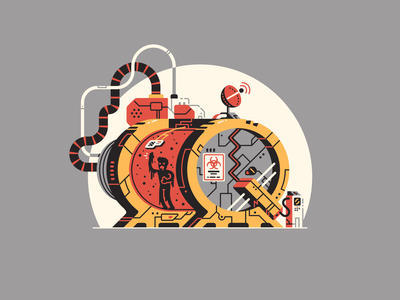 Q stands for... letter vector affinity designer biohazard prison sealed disease tube lockdown vats 36daysoftype-q 36daysoftype08 virus infected quarantine thierry fousse illustration