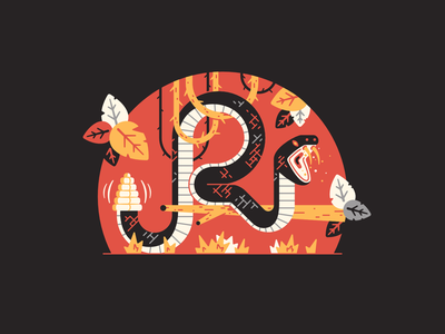 R stands for... venomous fang lianas nature leaf tree branch 36daysoftype-r 36daysoftype08 forest jungle serpent snake rattlesnake thierry fousse illustration