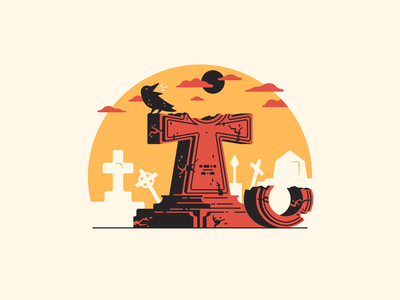 T stands for... stone ominous dusk cemetery ankh crow graveyard grave tomb 36daysoftype-t 36daysoftype08 thierry fousse illustration