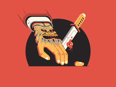 Y stands for... blood cut tanto severed 36daysoftype-y 36daysoftype08 yokai oni finger blade hand knife tattoo yakuza thierry fousse illustration