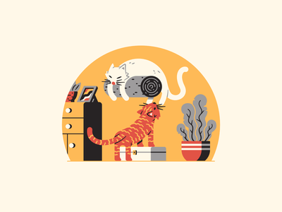 9 - a cat's nine lives catfurniture everydaylife furniture sleep plants cute nine 9 36daysoftype kitten cats cat thierry fousse illustration