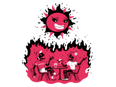 Let's get scorched friends talk bar drink flames fire burn scorched sun skeleton character illustration thierry fousse