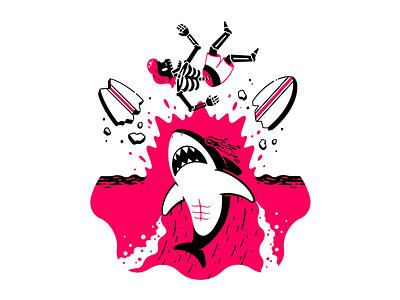 Shark attack summer board break smash waves surfer surf ocean sea attack shark character illustration thierry fousse