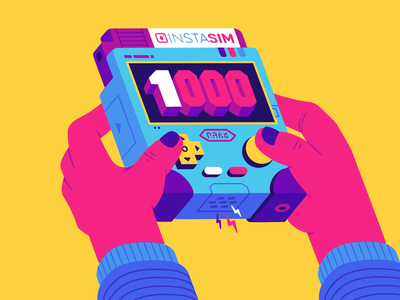 1000 thumb screen controller button 1000 instagram pop hands glitch cartridge console videogame boop beep animation illustration thierry fousse