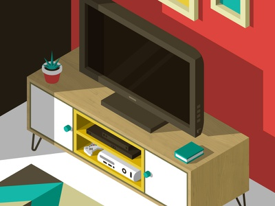 TV Stand wood graphic design colors design furniture isometric illustration