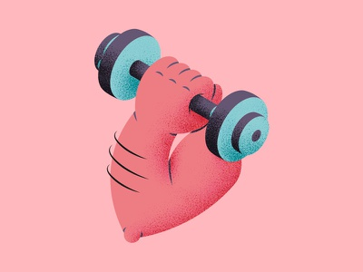 Muscle illustration health sport dumbbell arm muscle texture icon perspective isometric thierry fousse montpellier