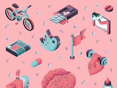 Neurogenesis illustration montpellier thierry fousse texture isometric editorial magazine neurogenesis icon brain health science