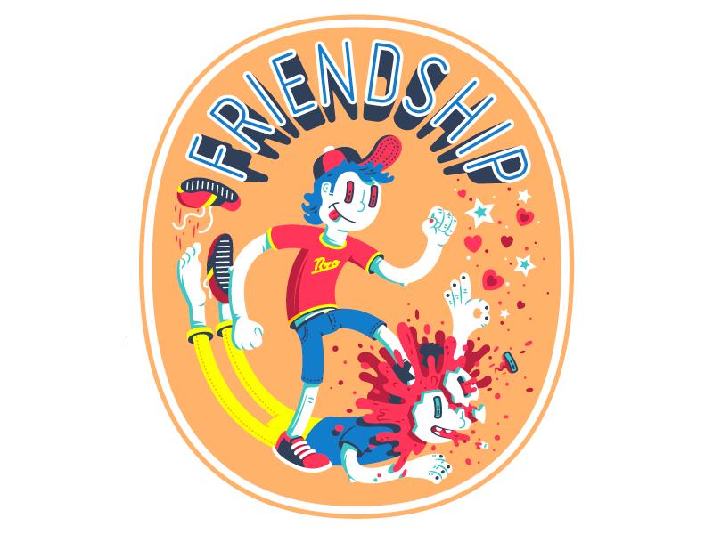 Friendship thierry fousse okay skull splatter blood fun character illustration friendship friend