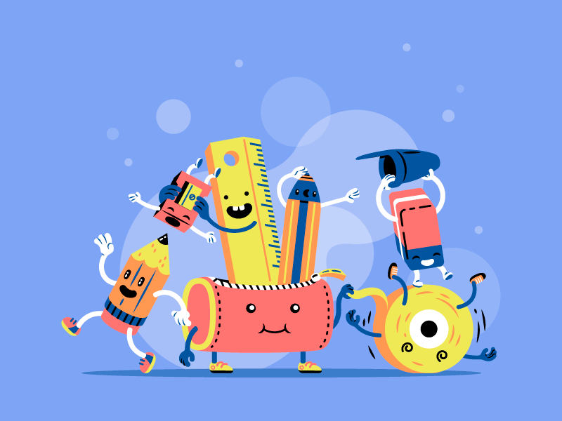 Landing page illustration - educational website for kids thierry fousse scene eraser school playful pencil child kid educational landing page fun character
